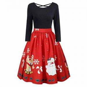 kleid damen partykleid,weihnachten drucken Übergröße lange