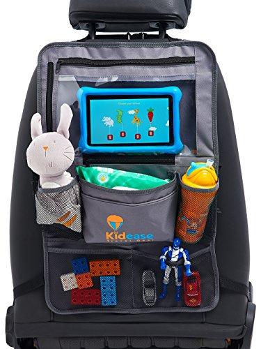 autositz organizer f r kinder r cklehenschutz in grau mit extra gro en taschen und ipad tablet. Black Bedroom Furniture Sets. Home Design Ideas